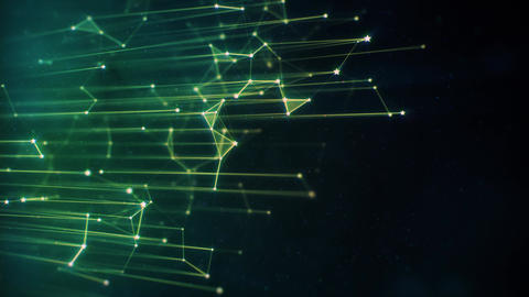 Vertical Hi-Tech Green Plexus Lines and Particles on Dark Background Animation