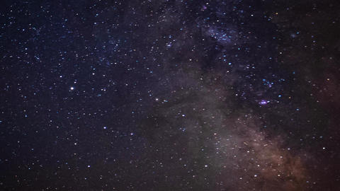 Milky Way time lapse and rotating starry sky, galaxy core details Live Action