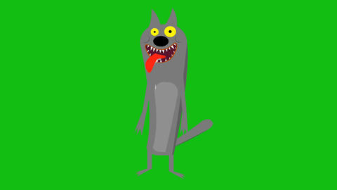 Cartoon wolf animation Live Action