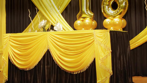 Number 18 eighteen years birthday anniversary golden balloon with stage decoration Live Action