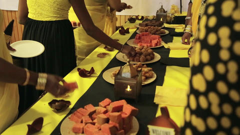 people group catering buffet food indoor in luxury restaurant with sweet colorful fruits and Live Action