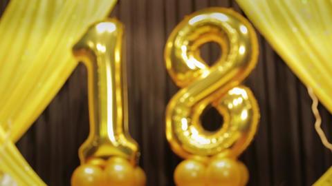 Number 18 eighteen years birthday anniversary golden balloon Live Action