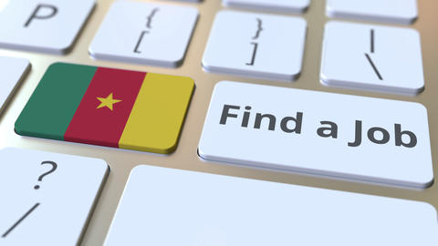 FIND A JOB text and flag of Cameroon on the buttons on the computer keyboard Live Action