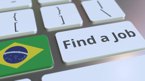 FIND A JOB text and flag of Brazil on the buttons on the computer keyboard Live Action