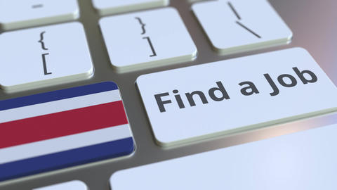 FIND A JOB text and flag of Costa Rica on the buttons on the computer keyboard Live Action