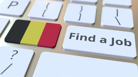 FIND A JOB text and flag of Belgium on the buttons on the computer keyboard Live Action