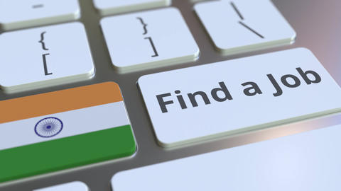 FIND A JOB text and flag of India on the buttons on the computer keyboard Live Action