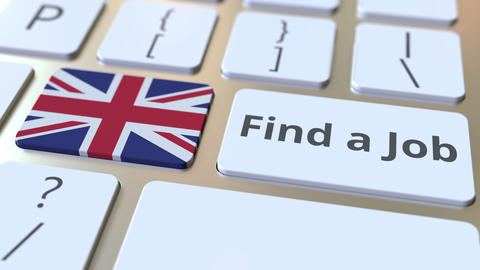 FIND A JOB text and flag of Great Britain on the buttons on the computer Live Action