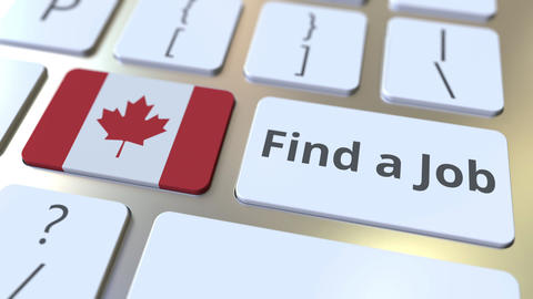 FIND A JOB text and flag of Canada on the buttons on the computer keyboard Live Action