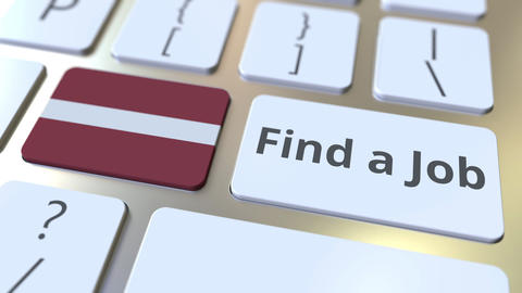 FIND A JOB text and flag of Latvia on the buttons on the computer keyboard Live Action