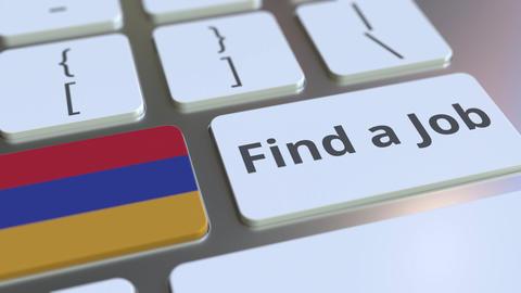 FIND A JOB text and flag of Armenia on the buttons on the computer keyboard Live Action