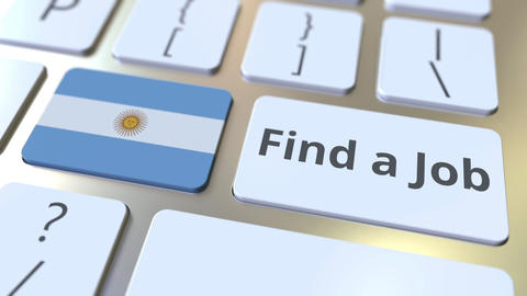 FIND A JOB text and flag of Argentina on the buttons on the computer keyboard Live Action