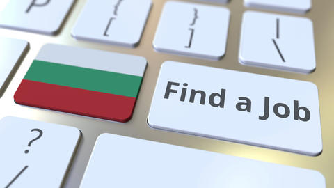FIND A JOB text and flag of Bulgaria on the buttons on the computer keyboard Live Action