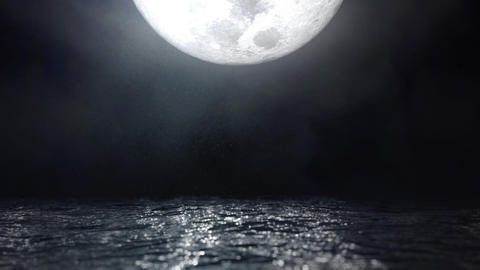 Moonlight Reflection on Water Waves Seascape Loop Cinemagraph Animation
