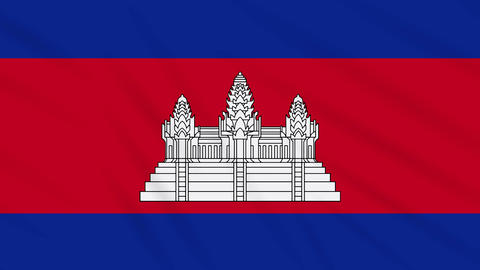 Cambodia flag waving cloth background, loop Animation