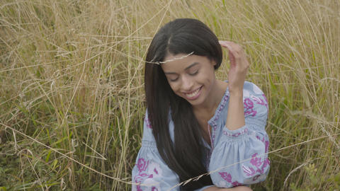 Portrait cute confident carefree African American girl wearing long summer Footage