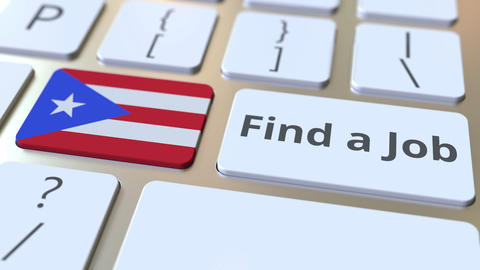 FIND A JOB text and flag of Puerto Rico on the buttons on the computer keyboard Live Action