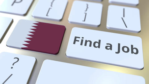 FIND A JOB text and flag of Qatar on the buttons on the computer keyboard Live Action