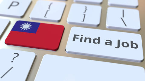 FIND A JOB text and flag of Taiwan on the buttons on the computer keyboard Live Action