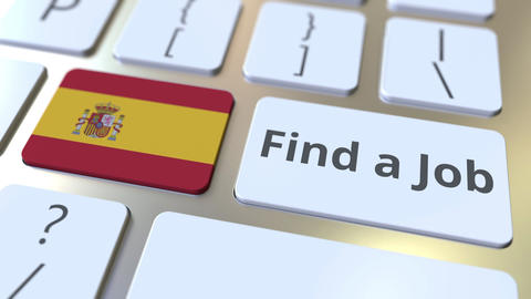 FIND A JOB text and flag of Spain on the buttons on the computer keyboard Live Action