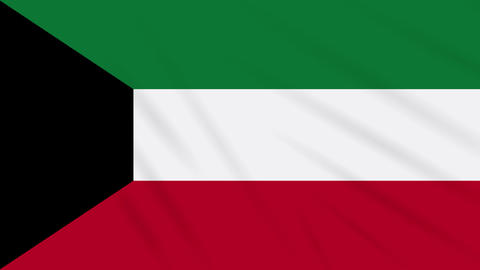 Kuwait flag waving cloth background, loop Animation