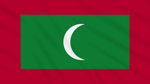 Maldives flag waving cloth background, loop Animation