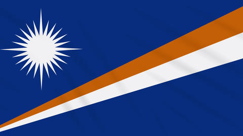 Marshall Islands flag waving cloth background loop Animation