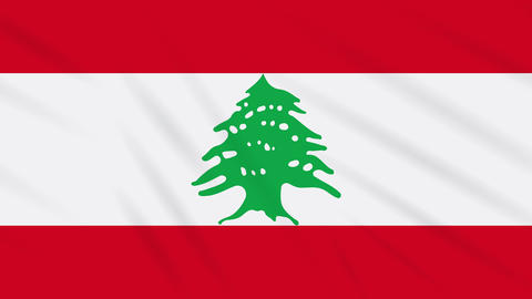 Lebanon flag waving cloth background, loop Animation