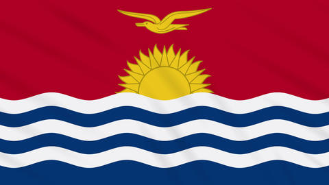 Kiribati flag waving cloth background, loop Animation
