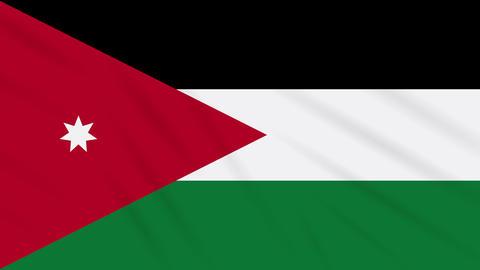 Jordan flag waving cloth background, loop Animation