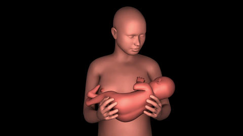 Mother breastfeeding baby Animation
