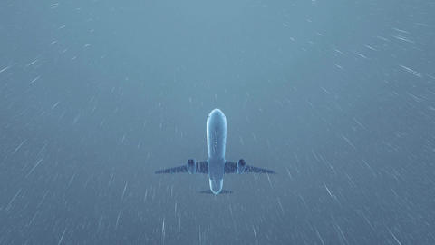 Airliner flying overhead in thunderstorm night sky 4K Footage