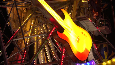 Neon guitar. Golden Sands. Resort in Bulgaria Footage