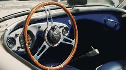Old vintage car with interesting interior inside Footage
