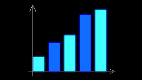 Bar chart diagram with arrows axis on animated grid background. Growth business/financial concept Animation
