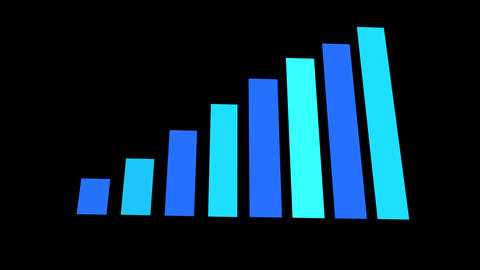 Animated 3D Bar chart diagram. Growth business/financial concept Animation