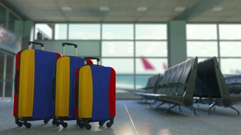 Travel suitcases with flag of Armenia. Armenian tourism conceptual 3D animation Live Action