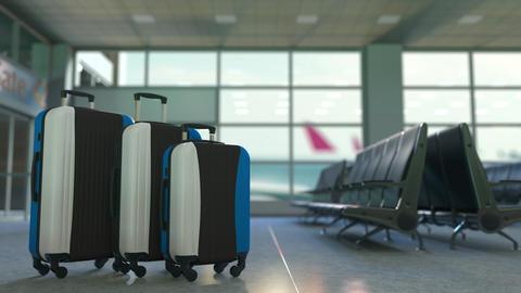 Travel suitcases with flag of Estonia. Estonian tourism conceptual 3D animation Live Action