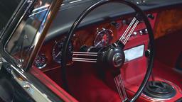 Red interior inside of old vintage vehicle Footage