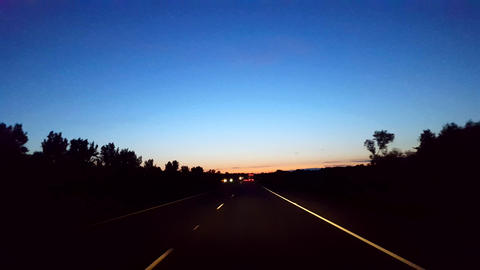 Driving Morning Highway With Light on Horizon. Driver Point of View POV Interstate Driving Early in Footage