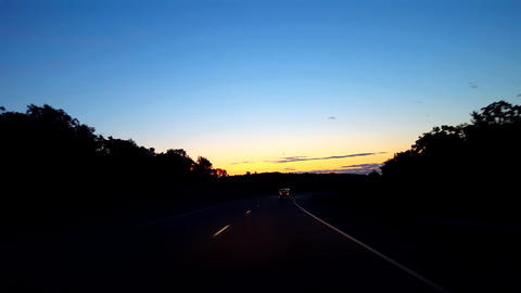 Driving Rural Countryside Highway During Sunrise. Driver... Stock Video Footage