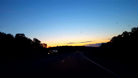 Driving Rural Countryside Highway During Sunrise. Driver Point of View POV While Sun Rises on Live Action