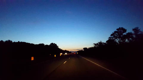 Driving Morning Highway With Light on Horizon. Driver Point of View POV Interstate Driving Early in Live Action
