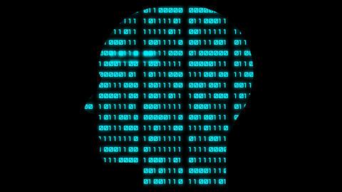 Head symbol at binary code background Animation