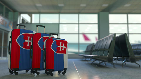 Travel suitcases with flag of Slovakia. Slovak tourism conceptual 3D animation Live Action