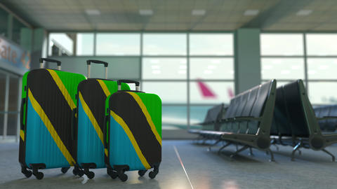 Travel suitcases with flag of Tanzania. Tanzanian tourism conceptual 3D Live Action