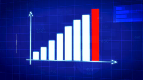 Professional business bar chart diagram with arrows axis on animated background Animation