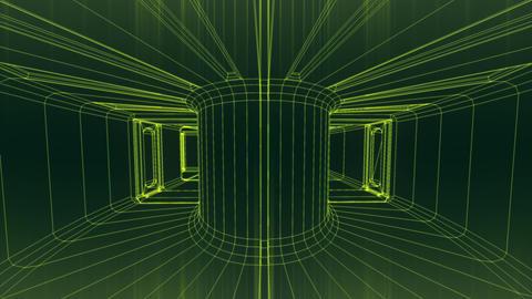 Sci-Fi Corridor System Futuristic Wireframe Design 4 Animation