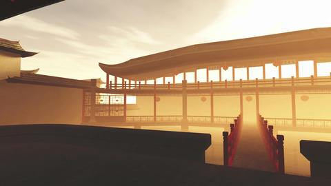 Traditional Chinese Inner Courtyard Sunset 3D Animation 4 Animation