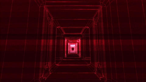 Sci-Fi Corridor Holographic Wireframe Design 4 Animation
